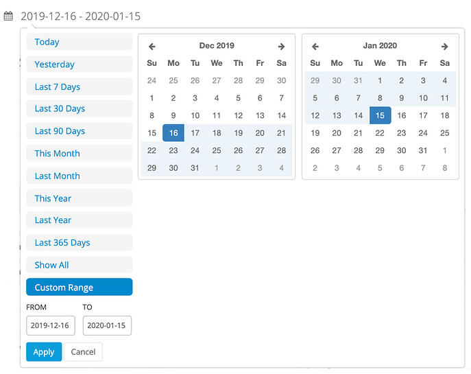 Date range with calendar