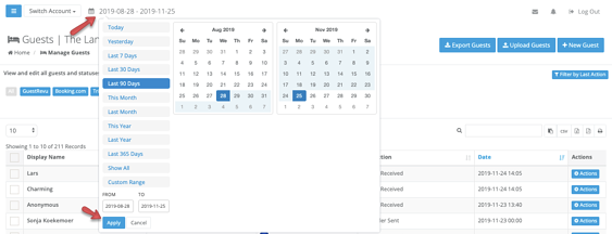 change date range