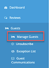 menu - guests - manage guests