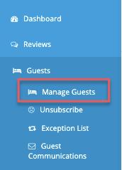 menu - guests - manage guests