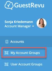 menu - my account groups