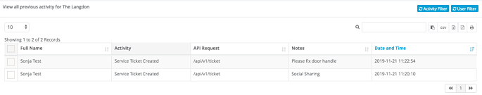 activity log - activity filter - service tickets applied