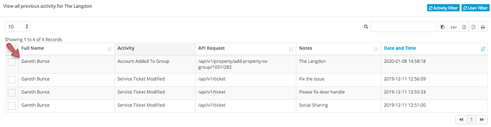 activity log - user filter - user filter applied