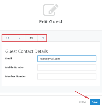 Guests - Manage Guests - Actions - Edit email