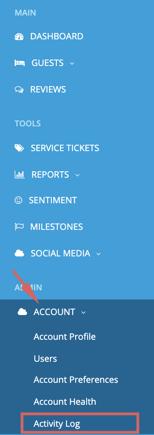 account - activity log